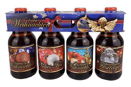 Weihnachtsbier Fröhliche Weihnachten Pils im witzigen Bierschaum 4er Träger (4 x 0,33l)