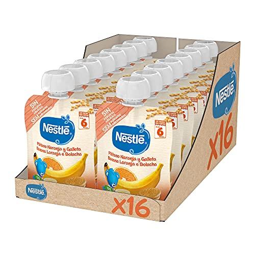 Nestlé Bolsita Puré Plátano Naranja Galleta, A Partir De Los 6 Meses, 90 G - Pack de 16 bolsitas 90g