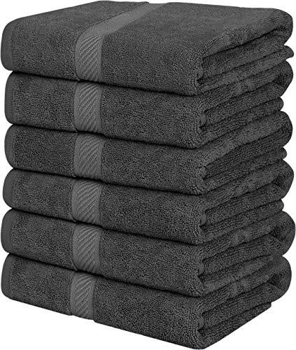 Utopia Towels - 6 Katoenen Handdoeken - 56 x 112 cm, Grijs- Handdoeken voor Pool, Spa, en Gym Lightweight and Highly Absorbent Quick Drying Kleine Badhanddoeken (Grijs)