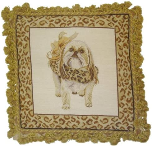 Deluxe Pillows Dressed Limited price sale Up discount Pooch - needlepoint x 18 in. pillow