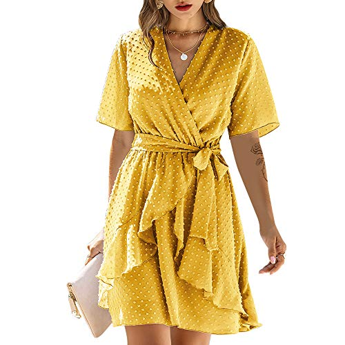 Exlura Womens Summer Dress V Neck Ruffle Irregular Hem Polka Dot with Belt Yellow