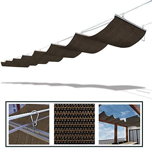 GDMING Aktualisiert Sonnensegel Für Seilspanntechnik Ersatz-Wellenschirmabdeckung Schieben Sie Den Draht Auf Sonnenschutz Atmungsaktiv Dach Deck Terrasse Veranda, 30 Größen