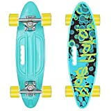 Skateboard 55cm/22inch para Principiantes Adultos y Niños, Mini Cruiser Retro Skateboard con All-in-One Skate T-Tool, Skateboard con 4 LED PU Ruedas