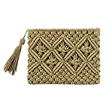 Mdsfe Lady Women Summer Lovely Retro Straw Knitted Handbag para Key Money Beach BagCoin Purse Card Clutch Bag-Army Green, A4