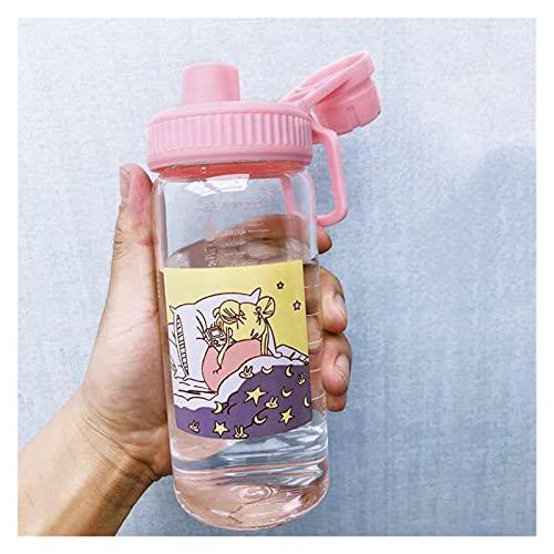 JSJJRFV Taza de Agua 500 ml con Escala Sailor Luna Botellas de Vidrio de Silicona de Botella de Agua Vidrio ecológico con Gafas de Paja Lindas Tazas niño (Farbe : Only 500ml Cup 2)