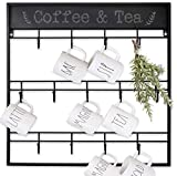 AJART Coffee Mug Rack (13 Hooks/Black) Large Wall Mounted 3 Tiers Coffee Cup Holder for Coffee Mugs, Teacups, Mason Jars, Kitchen Mugs. Display, Organizer and Storage Hangers.