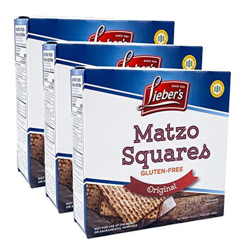 Leiber's Matzo Crackers Matzah Squares, Original, All Natural, Gluten-Free, Kosher For Passover, 10.5oz Box (3-Pack)