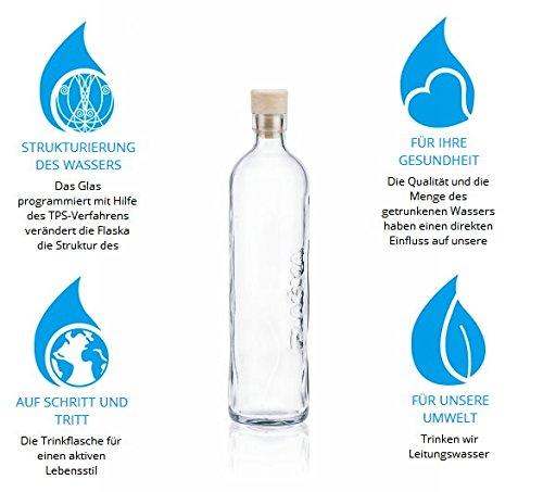Kerafactum® Design Trinkflasche Wasserflasche 0,75 Liter Flaska Glas Wasser Trink Flasche Glasflasche zum regelmäßigen Trinken Wassertrinken mit 2 Korken und 1 Flaschenbürste