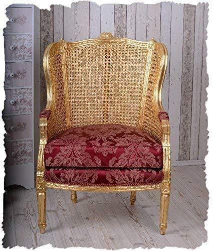 Ohrensessel Chateau de Versailles Barock Sessel Barockstuhl Ohrenbackensessel cat678a05 Palazzo Exklusiv