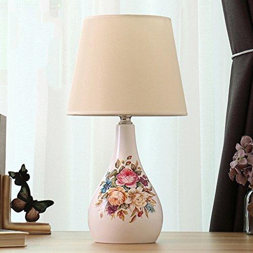 SKC Lighting-lampe de table Lampe de table en céramique, lampe de chevet de style pastoral européen, lampe de table de commutateur de bouton, 25 * 25 * 46CM (Couleur : WHITE-3)