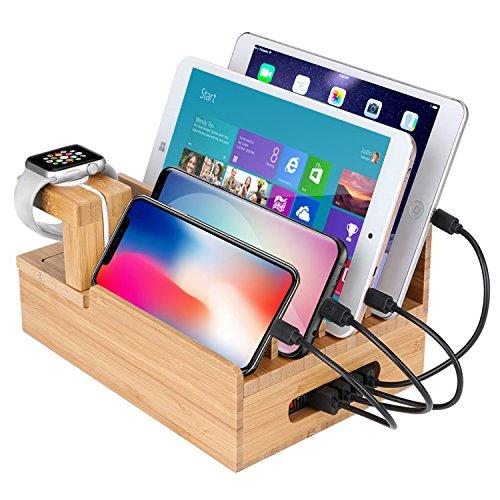HOMEXIN収納ボックス竹製桌上充電ホルダー充電スタンド5ポート同時充電Iphone/Ipad/Mac/Android/Apple Watc...