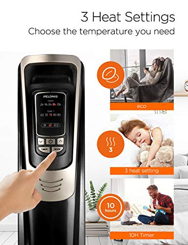 PELONIS Oil Filled Radiator Heater Luxurious Champagne Portable Space Heater with Programmable Thermostat, 10H Timer, Remote Control, Tip Over&Overheating Functions. Quiet Heater for Home Office