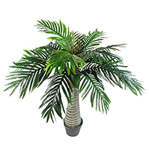 Leaf Design UK Realistic Extra Large Artificial Princess Palm Tree, 100cm White Trunk