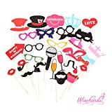 Wisehands 31 PCS Photo Booth Props Kit for Wedding,...