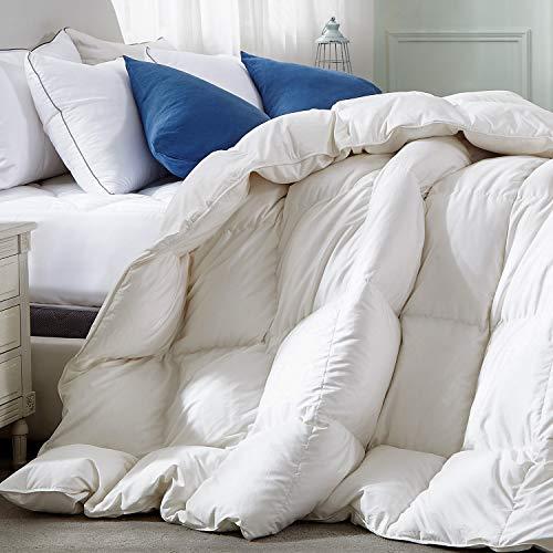 Royoliving Premium schwere, silberfarbene Daunen, luxuriöse, verdickte Winterbettwäsche, für alle Jahreszeiten, 100% ägyptische Baumwolle Queen All Season weiß