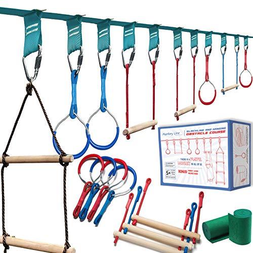 Ninja Warrior Obstacle Course for Kids - 50 ft Slack Line – Ninja Slackline Obstacle Course for Kids Backyard – Ninja Warrior Training Equipment for Kids Monkey Bars, Rings, Monkey Ladder and More!