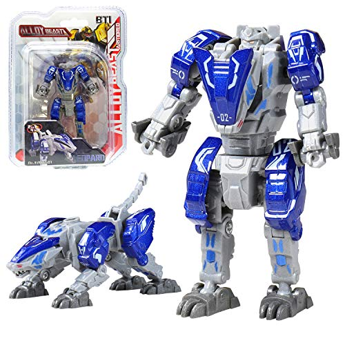 Sanggi Juguetes Robot Deformación, 2 EN 1 Niños Puzzle Juguetes Leopardo/León, Robot de Aleación Juguete para Los Niños Educación de la Primera Infancia, para Edades de 3 y más (Azul)