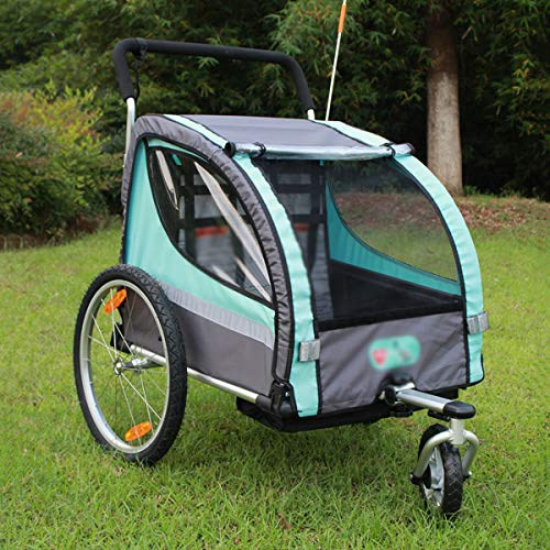 QQLOV 2 in 1 Child Trailer Bicycle 2-Seater Hand Trolley Kids Trailer Buggy Jogger 1-6 Years Old Collapsible Parent-child Bike Rear Trailer Blue/red(Color:Blue)