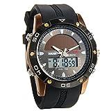 Avaner Herren Solaruhr Analog-Digital Quarzwerk mit Zwei Zeitzonen, wasserdichte Sportuhr mit Kautschuk Armband LED-Beleuchtung Stoppuhr Armbanduhr für Männer (Kaffeebraun)