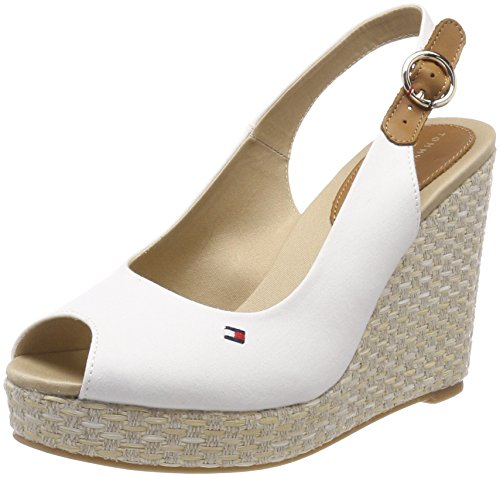 Tommy Hilfiger Iconic Elena Basic Sling Back, Espadrillas Donna, Bianco (Whisper White 121), 38 EU