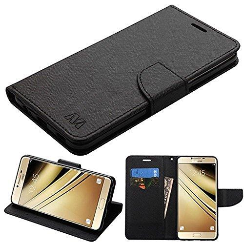 MyBat Cell Phone Case for Samsung Galaxy C7 Pro - Black Pattern/Black Liner