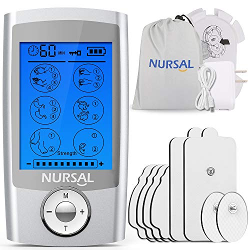 NURSAL EMS TENS Unit Muscle Stimulator with 8 Electrode Pads/Storage Pouch/Pads Holder, Rechargeable 16 Modes Electronic Pulse Massager for Pain Relief Therapy, Arthritis, Muscle Stiffness/Soreness
