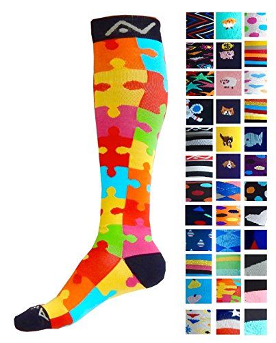 Compression Socks (1 pair) for Women & Men by A-Swift (Jigsaw, S/M)