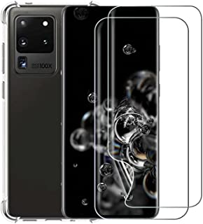 RekletierCompatible withSamsung Galaxy S20 UltraCase with HD Flexible TPU Film Full Coverage Bubble Free Screen Protect...
