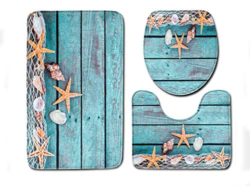 Sodhue Weiche Badteppich-Set 3-teilig Badvorleger Badteppich WC Vorleger Badematte rutschfest waschbar Duschvorleger Strand-Steine Bunt Nasse Kieselsteine rutschfest Badezimmerteppich Konturmatte