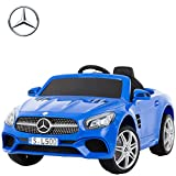 Uenjoy 12V Licensed Mercedes-Benz SL500 Kids Ride On Car Electric Cars Motorized Vehicles for Kids, Remote Control, Music, Horn, Spring Suspension, Safety Lock, Blue