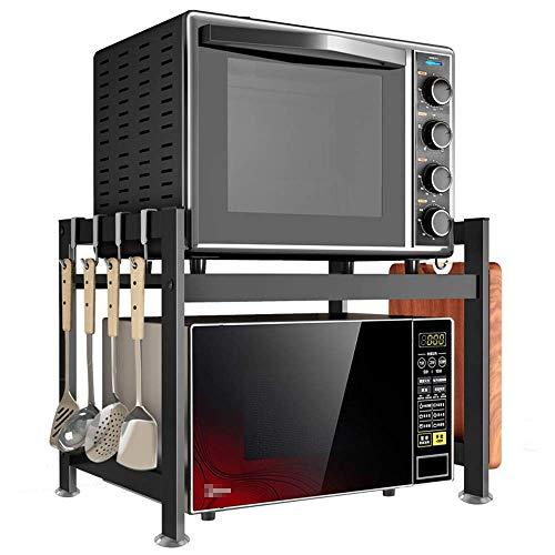 JINKEBIN Estante de cocina para mostrador de cocina de 2 niveles de acero inoxidable para horno de microondas, estante multifunción (color: negro, tamaño: 55 x 38 x 45 cm)
