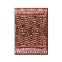 レトロなエスニックスタイルのカーペット、赤い幾何学的な波のリビングルームの寝室のフロアマットはベッドサイドカーペットを研究します