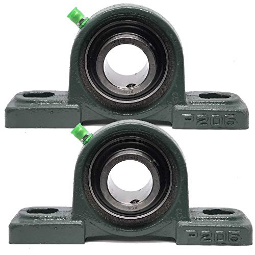 """PGN - UCP205-16 Pillow Block Mounted Ball Bearing - 1"""" Bore - Solid Cast Iron Base - Self Aligning (2 Pack)"""