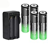 Dual 18650 Battery Charger Recharger with 4 PCS Button Top, 9900mAh 3.7V, Rechargeable Li-ion Cell