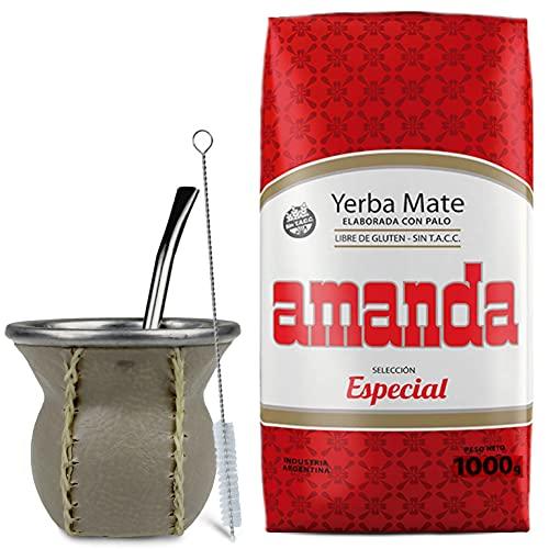 Juego de té mate: Yerba Mate Tee Amanda Seleccion Especial 1 kg | Vaso mate de cristal con revestimiento de piel (marrón claro) – Kalebasse | Bombilla | Cepillo de limpieza