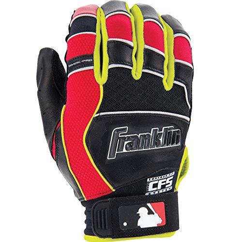 Franklin Sports Shok-Pro Série Gants de Baseball, 21300F2, Noir/Rouge/Jaune, Youth M