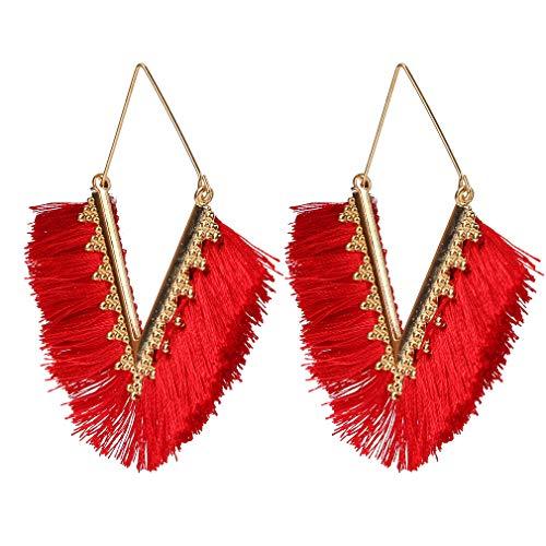 #N/A Rlmobes Pendientes geométricos en forma de V con borla de hilo de algodón colorido, para mujer, color rojo
