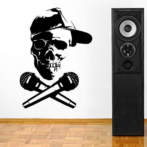 Verwijderbare schedel hoofd met microfoon DJ Vinyl Wall Art Art Cut Vinyl muur sticker Decal Home Roo63x85cm