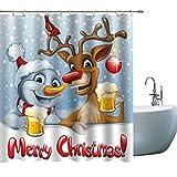 BT World Duschvorhang mit Weihnachtsmann-Motiv, Weihnachtsmann & niedliches Reh, Dekoration für Badezimmer, Polyester-Stoff, Duschvorhang-Sets mit Haken, 180 x 180 cm