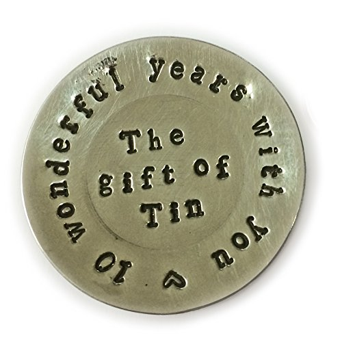 10th Anniversary Tin Gift. Miniature Tin Plate with 10 year anniversary message