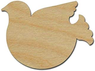 Dove Shape Wood Cut Out Unfinished Wooden Bird Variety of Sizes (6