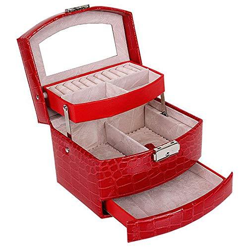 JIGAN Sieradendoos, Automatische Lederen Sieradendoos Drie-laags Opbergdoos Voor Vrouwen Oorbel Ring Cosmetische Organizer