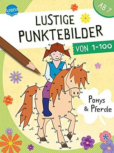 Lustige Punktebilder von 1 bis 100. Ponys und Pferde: Von-Punkt-zu-Punkt-Rätselblock für Kinder ab 7 Jahren