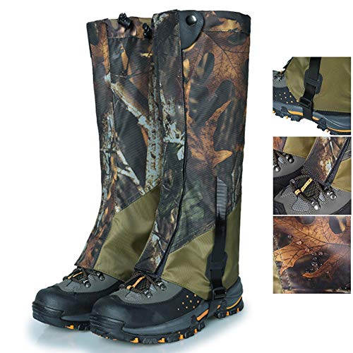 MHGLOVES Gamaschen Wandern, Outdoor Gamaschen, wasserdichte Einstellbare Gamaschen Atmungsaktive Beinschutz Gaiter Hohe Beinschutz für Wandern Wandern Klettern Jagd(Tarnen)