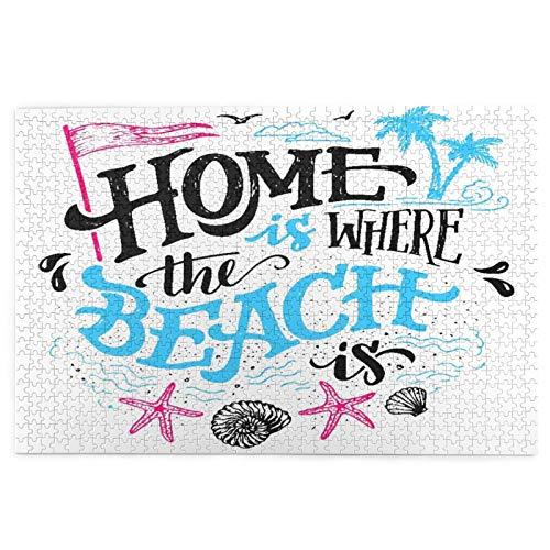 Rompecabezas de 1000 Piezas,Rompecabezas de imágenes,El hogar es donde está la playa.Signo dibujado a mano de Juguetes puzzle for Adultos niños Interesante Juego Juguete Decoración Para El Hogar