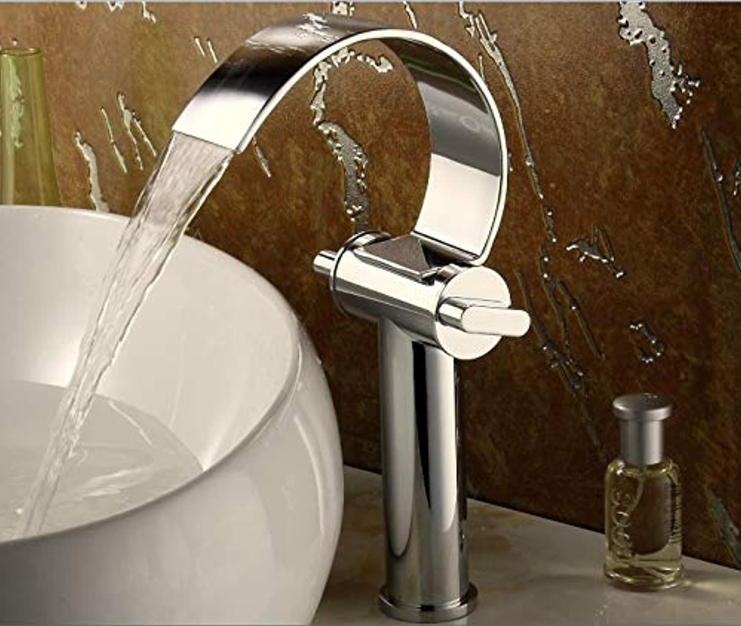 Tall Bathroom Waterfall Faucet Double Single Hole Basin Faucet Chrome Brass Cold and hot Water Washing Faucet Mixer tap,208A