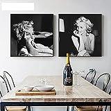 JRLDMD Carteles e Impresiones de Moda en Lienzo de Marilyn Monroe en Blanco y Negro, Cuadros Mural para decoración de Sala de Estar, Cuadros de 50x50cmx2 sin Marco