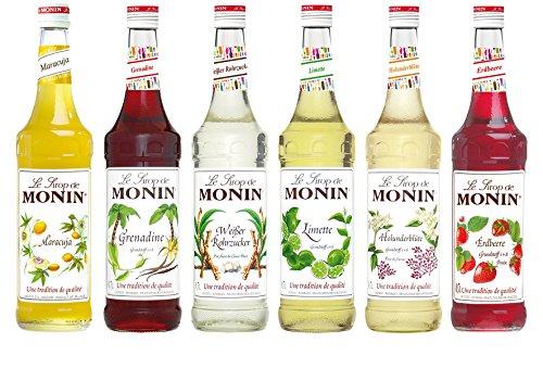 Monin Top 6 für Cocktails Set (6 x 0.7l Flaschen: Erdbeere, Holunderblüte, Maracuja, Limette, Weisser Rohrzucker, Grenadine)