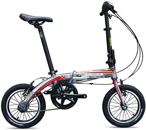 Biciclette biciclette Mini pieghevole, 14' 3 Velocità Super compatto telaio rinforzato Commuter Bike, bici leggera in lega di alluminio portatile pieghevole Bicicletta, Grigio pieghevoli for adulti SL