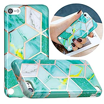 KZONO New iPod Touch 7 iPod Touch 6th Generation iPod Touch 5 Unique Marble Pattern Print Cute Clear Soft Silicone Cover for Girls/Women Flex Slim Pattern Design Protective Case -Greenluxury